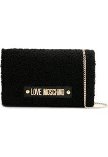 Love Moschino Shearling Cross Body Bag - Preto