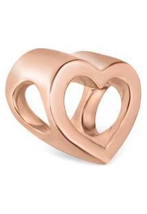 Pingente Life Coração Vazado Com Banho Ouro Rosé