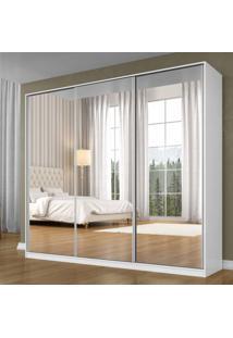 Guarda Roupa Casal Com Espelho 3 Portas De Correr 3 Gavetas Terrazo Siena Móveis Branco