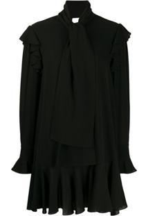 Alexander Mcqueen Vestido Drapeado Com Mangas Longas - Preto