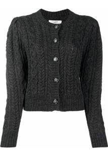 Isabel Marant Étoile Cropped Cable Knit Cardigan - Cinza