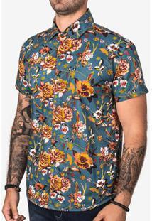 Camisa Hermoso Compadre Estampada Masculina - Masculino-Azul