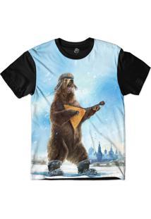 Camiseta Bsc Urso Banjo Sublimada Preto/Azul