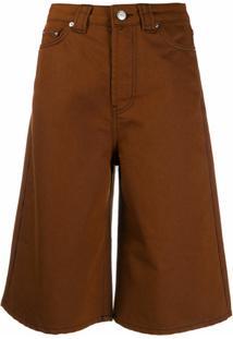 Ganni Bermuda Jeans - Marrom