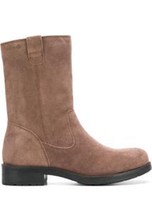 Geox Ankle Boot De Couro - Neutro