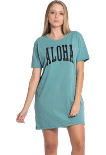 Vestido Feminino Curto Com Estampa Frontal Verde