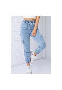 Calça Cargo Pkd Jeans Claro
