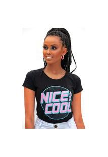 Camiseta Miss Glamour Store Nice And Cool Preta