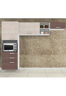Cozinha Compacta Com 4 Portas 3 Peças Natália - Poquema - Amendoa / Capuccino