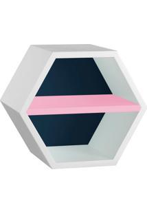Nicho Hexagonal Favo Ii Com Prateleira Branco Com Azul Noite E Rosa Cristal