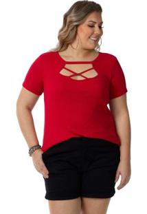 Blusa Feminina Plus Size Vermelho