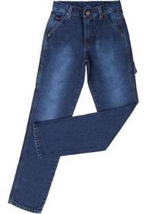 Calça Jeans Carpinteira Tradicional Fast Back Masculina - Masculino-Azul
