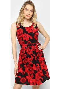 3631f144d ... Vestido Top Moda Curto Evasê Estampado - Feminino-Vermelho+Preto