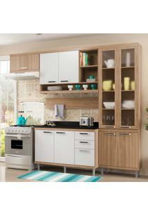 Cozinha Compacta Com Tampo 6 Peças Sicília 5817-S9T - Multimóveis - Argila Acetinado / Branco Acetinado