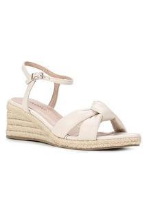 Sandália Anabela Shoestock Couro Corda Feminina