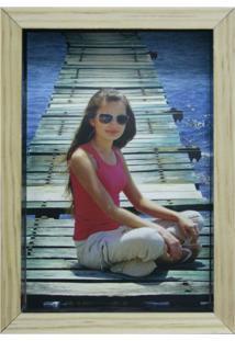 Porta-Retrato Wood Natural E Preto 12X17Cm