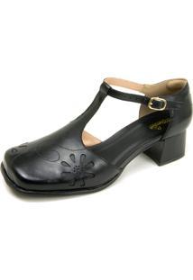 Sapato Retrô Bico Quadrado Touro Boots Feminino Preto - Kanui