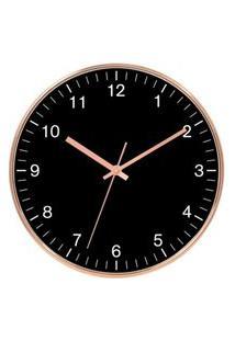 Relógio De Parede Em Plástico Rose E Preto Ø25Cm - Craw