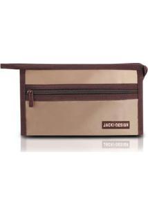 Necessaire Envelope Jacki Design Em Tecido Grande - Unissex-Marrom