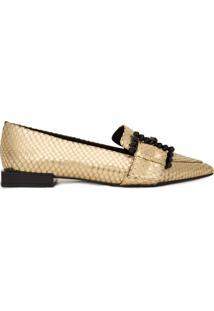 Sapato Feminino Loafer Com Fivela - Dourado
