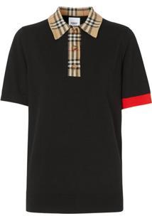 Burberry Vintage Check Trim Polo Shirt - Preto