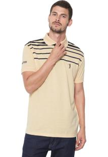 Camisa Polo Aleatory Reta Listrada Amarela