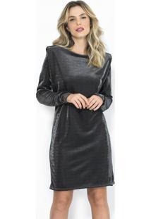 Vestido Curto Com Fio Metalizado Cinza