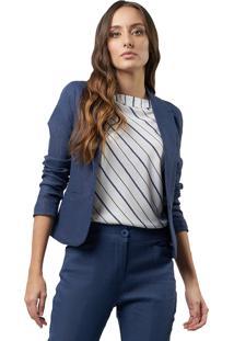 Blazer Mx Fashion Linho Nora Azul Marinho