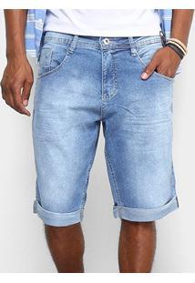 Bermuda Jeans Biotipo Barra Virada Elastano Masculina - Masculino-Azul Claro