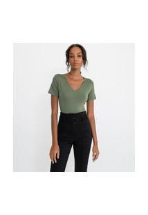 Blusa Básica Em Viscose Com Gola V E Manga Curta | Cortelle | Verde | G