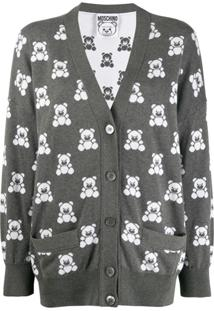 Moschino Cardigan Com Estampa 'Teddy Bear' - Cinza