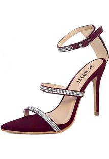 Sandália Sofist Shoes Glamour Com Strass Marsala