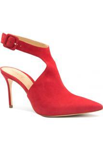 Sapato Schutz Salto Fino Fivela Vermelho