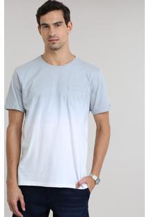 Camiseta Degradê Com Bolso Cinza Claro