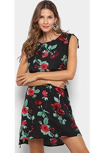 Vestido Pérola Floral Acinturado - Feminino-Preto+Vermelho
