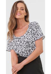 Blusa Calvin Klein Animal Print Branca