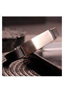 Bracelete Estilo Ráfia Couro Preto Dubai