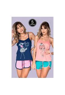 Kit 5 Baby Doll Feminino Serra E Mar Modas Pijama Gabriela Regata Multicolorido