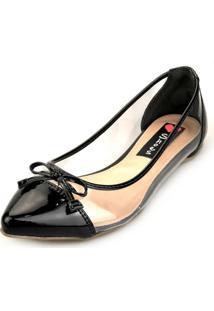 Sapatilha Love Shoes Transparente Vinil Laço Preto