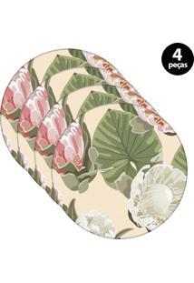 Capa Para Sousplat Mdecore Floral Bege 4Pçs