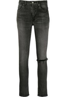 Saint Laurent Calça Jeans Skinny Detalhes Puídos - Cinza