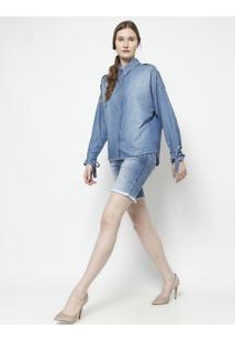 Bermuda Jeans Desfiada- Azul Claro- Zamany Jeanszamany Jeans