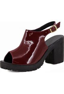 Sandália Salto Grosso Magi Shoes Meia Pata Vermelho