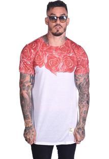 Camiseta Royal Brand Long Roses Branco-Vermelho