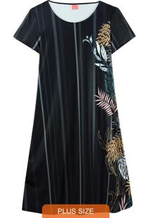 Vestido Preto Tropical Em Liganete