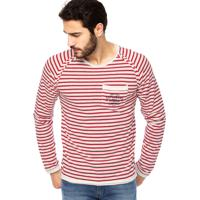 35e3e6961 Camiseta Manga Longa Colcci Explorers Listrada Vermelha/Off-White
