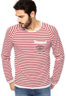 Camiseta Manga Longa Colcci Explorers Listrada Vermelha/Off-White