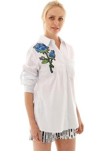 Camisa Aha Branca Com Patch De Flor Branco