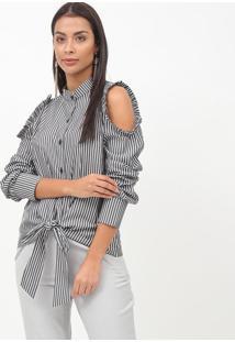 Camisa Listrada Com Recortes- Preta & Off White- Necnectarina