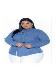 Camisa Jeans Stretch Manga Longa Gola Laço Feminino Plus Size 3170 Multicolorido